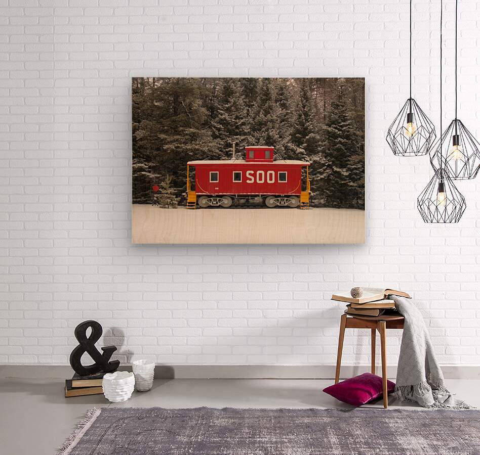 Soo Caboose in Fresh Snow  Wood print