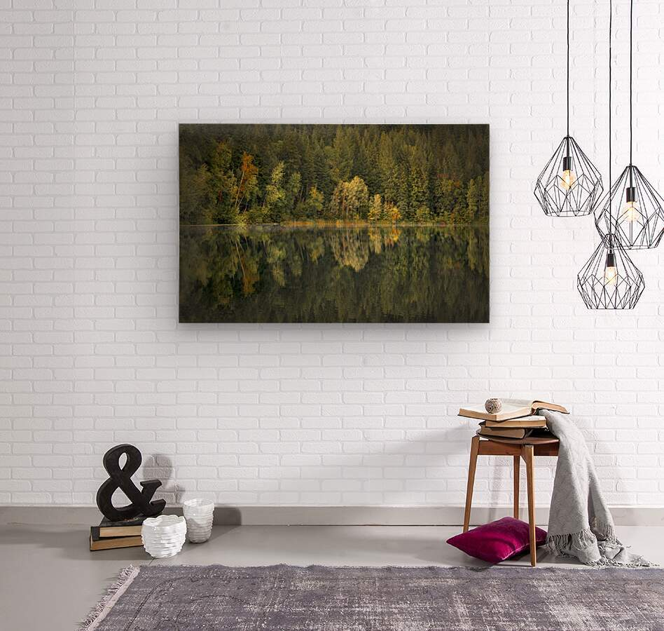 Mountain Lake in Fall  Wood print