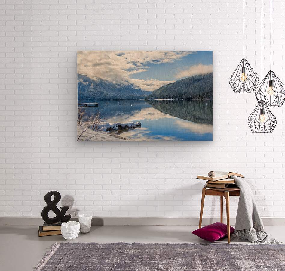 Snowy Day on the Lake  Wood print