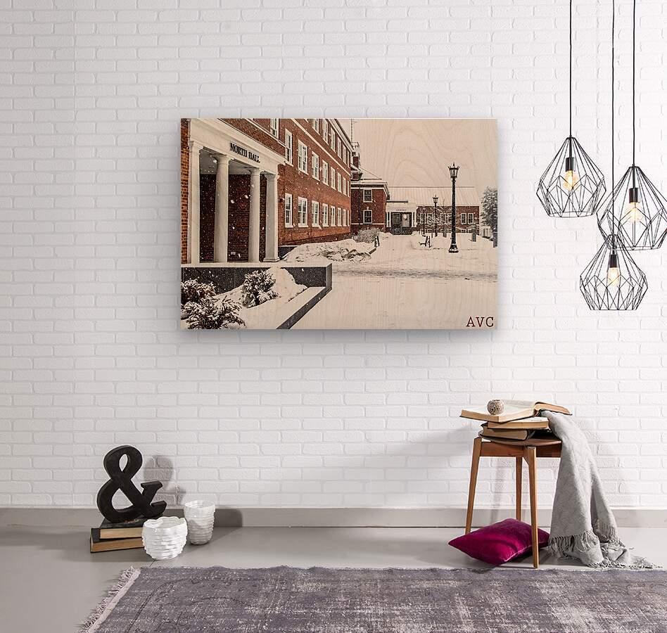 North Hall- Winter  Wood print