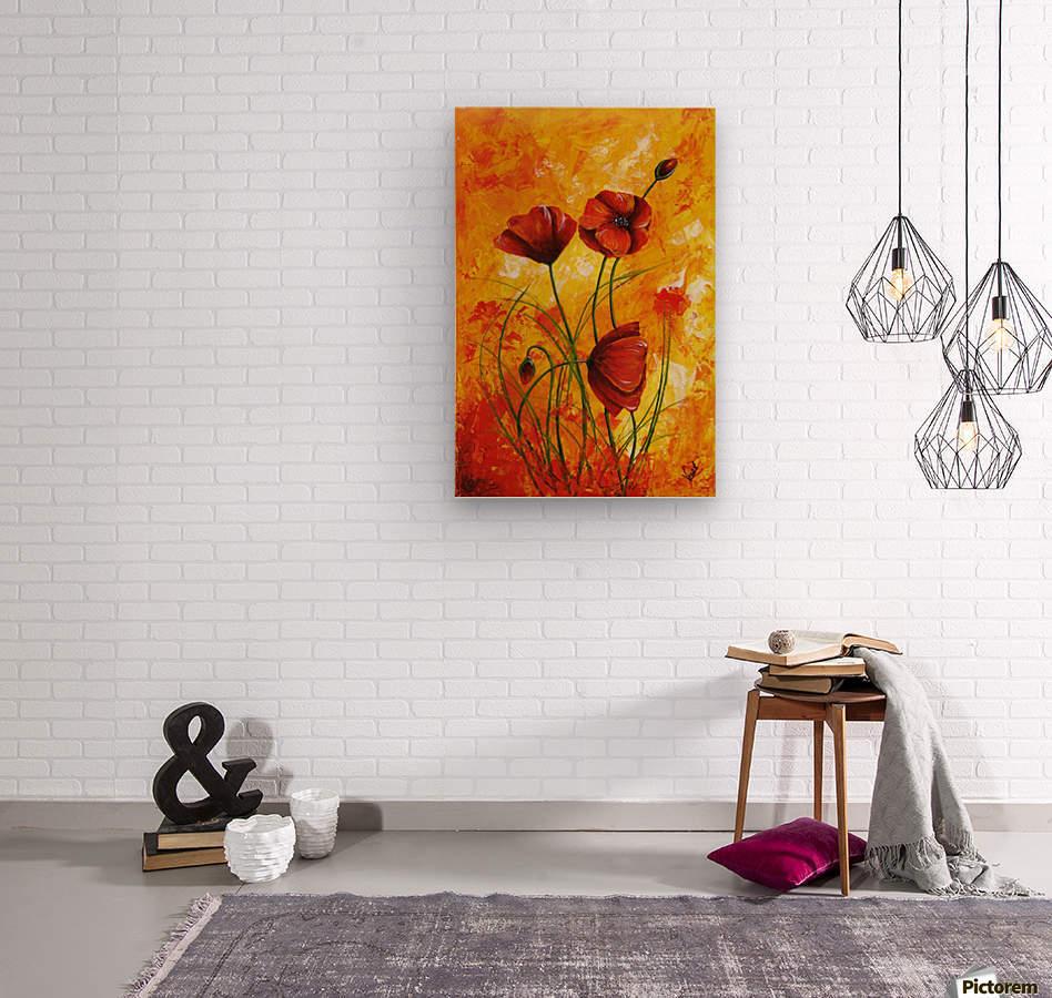 Edit Voros Red Poppies 006  Wood print