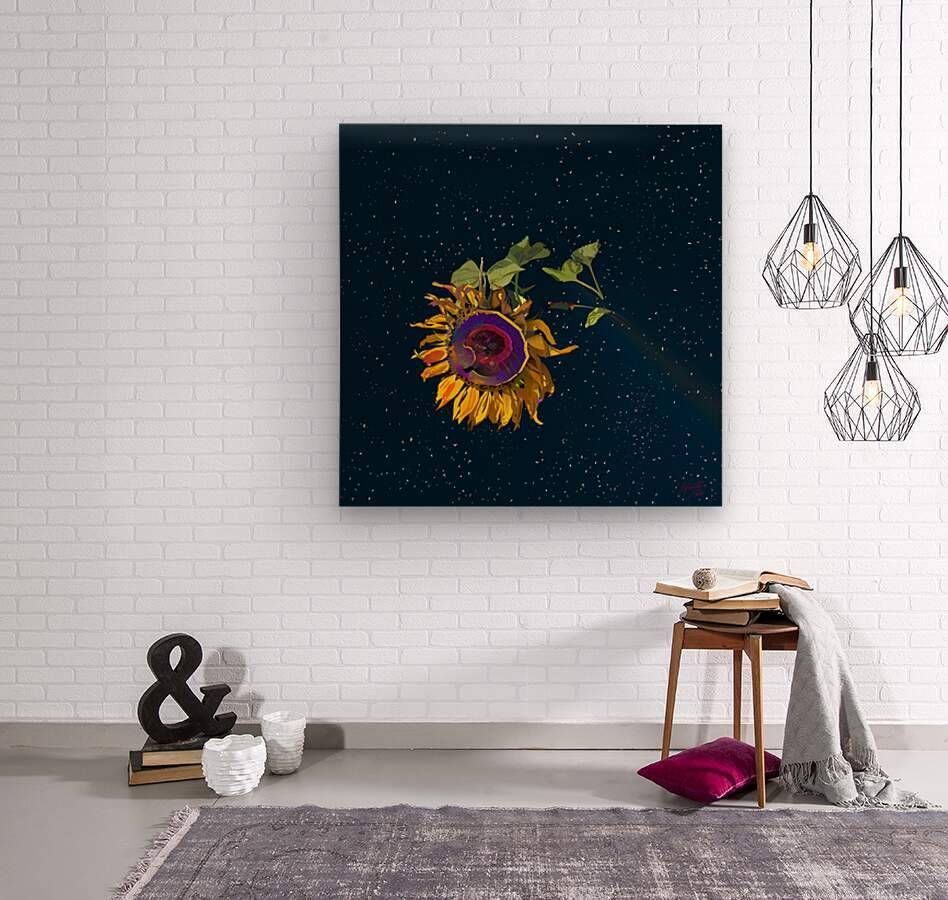 Sunflower in Space  Wood print