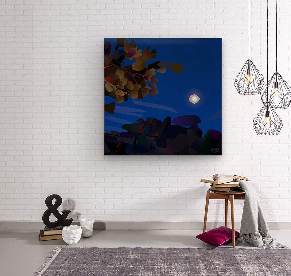 Vedauwoo at Night with Headlamps  Wood print