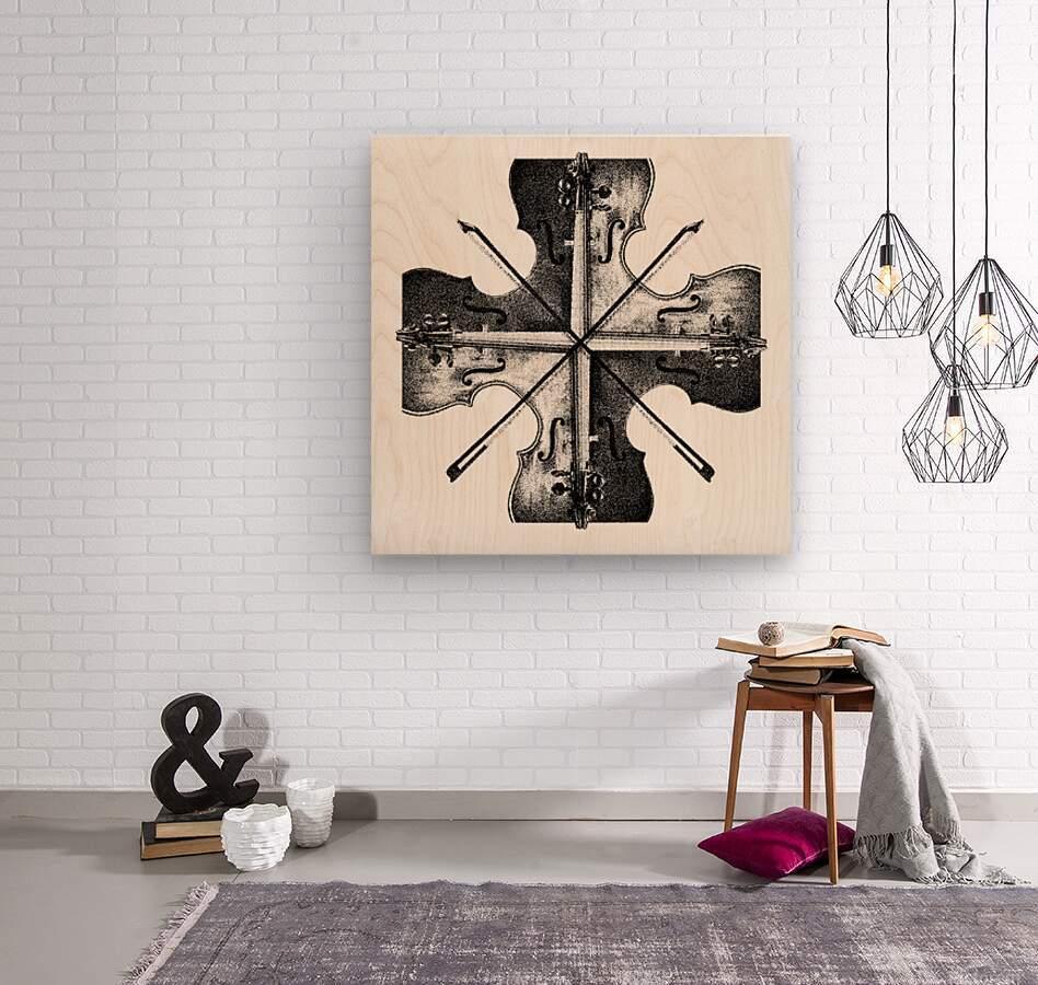 Harmony 36x36 BW  Wood print