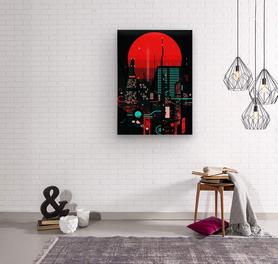 Neon City  Wood print