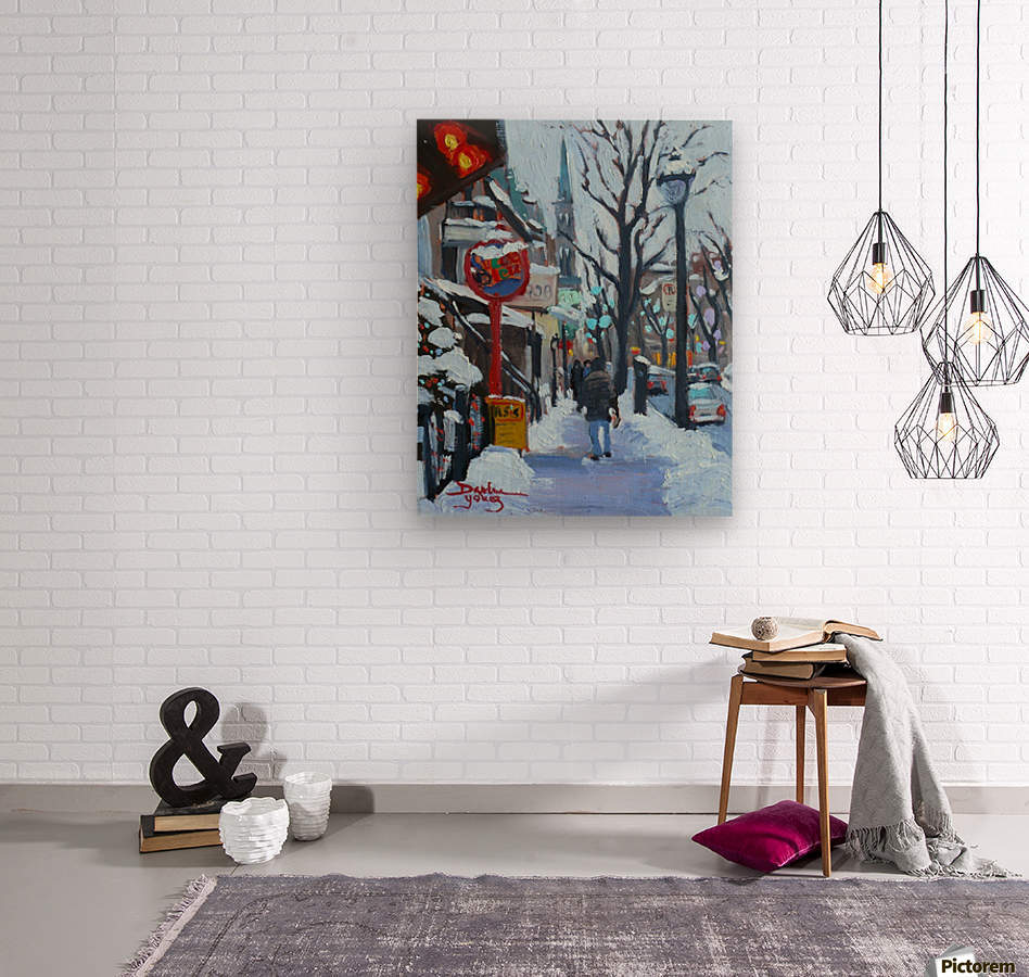 Montreal Winter St-Denis  Wood print
