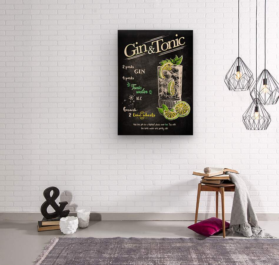 Gin and Tonic  Wood print