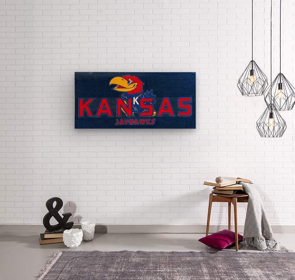 1950s Kansas Jayhawk Art  Wood print