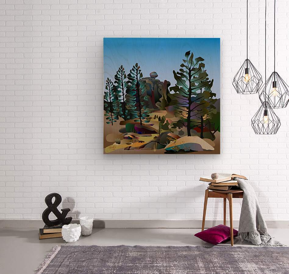 Balancing Boulder  Wood print