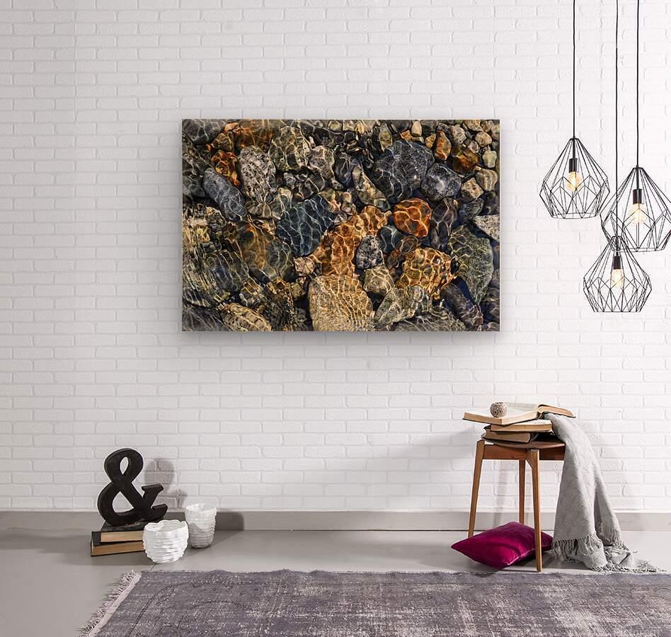 River Rocks  Wood print
