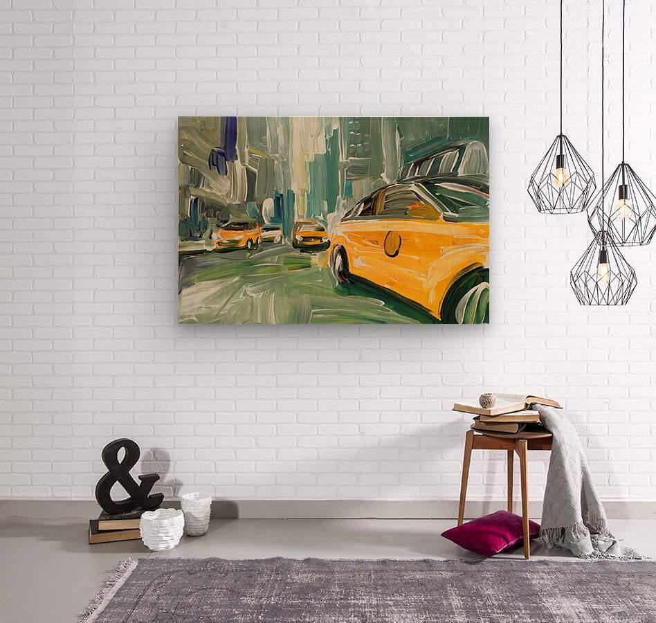 Yellow Cabs   Wood print