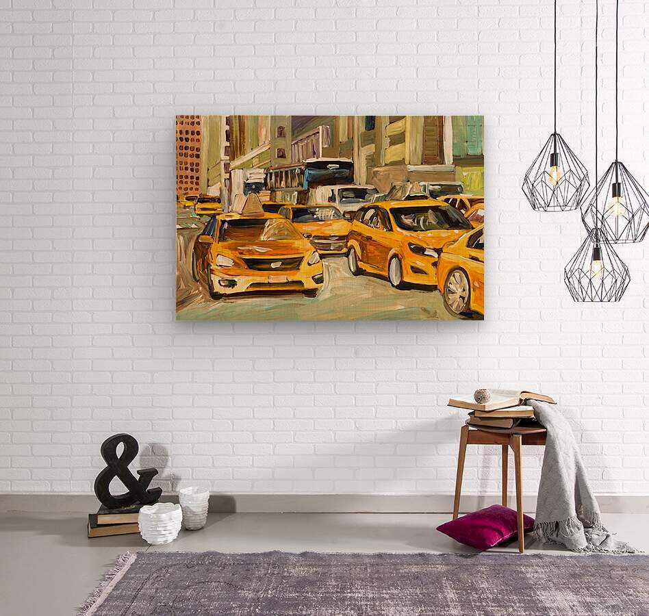 Cabs rushing By  Wood print