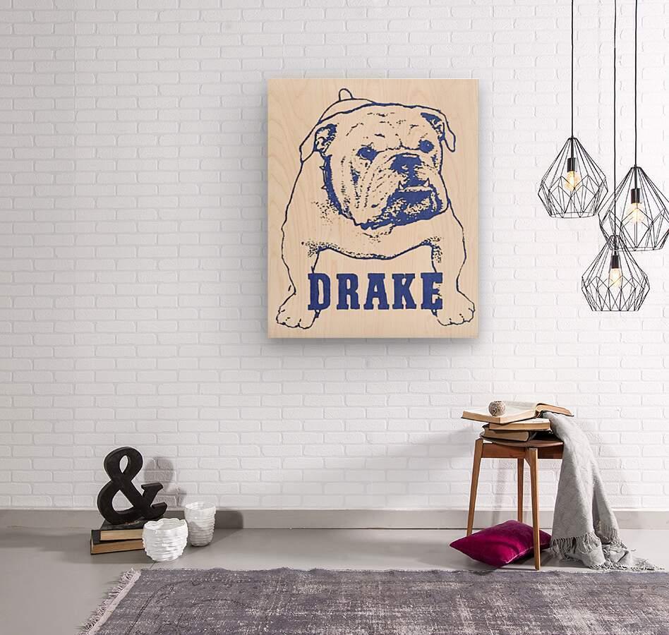 1950s Drake Bulldog Art  Wood print