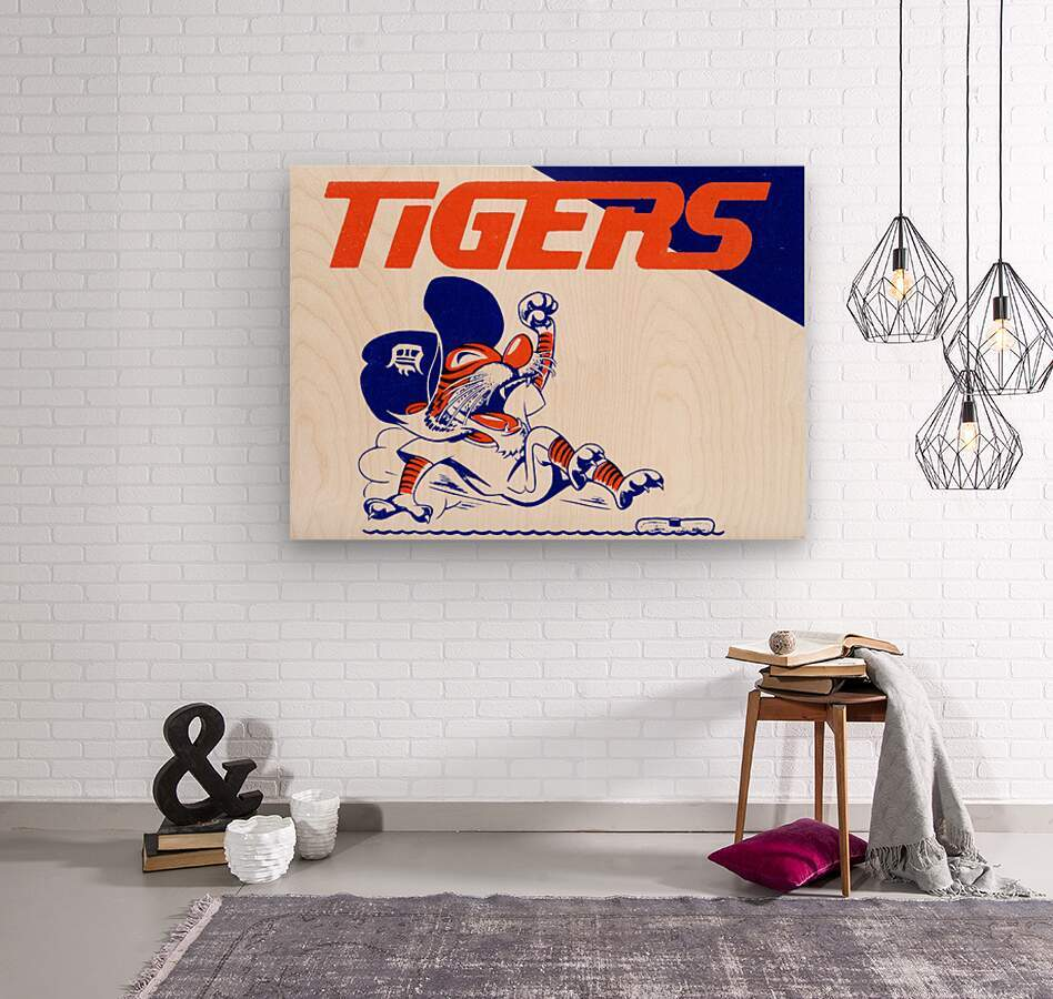 Tigers Cartoon  Wood print
