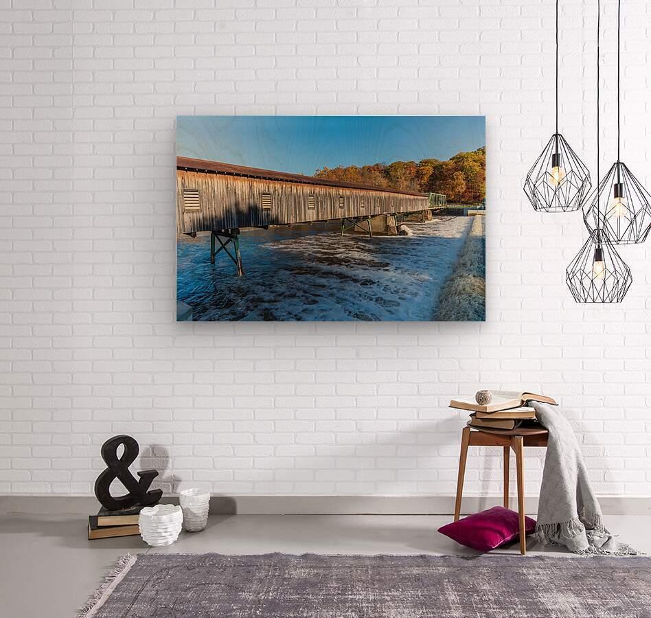 Harpersfield covered bridge and dam Ashtabula County autumn 2020  Wood print