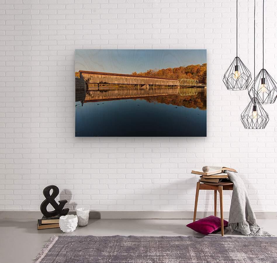 Harpersfield covered bridge and reflection Ashtabula County Ohio  Wood print