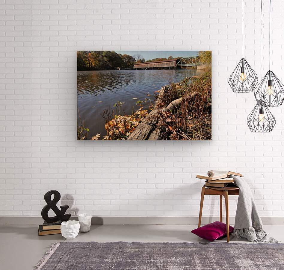 Harpersfield Ohio covered bridge in autumn from east side  Wood print