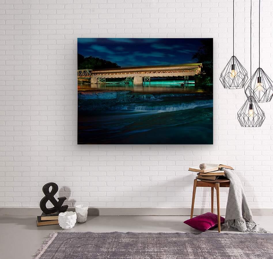 Night image of Harpersfield Covered Bridge over Grand River Ohio  Wood print