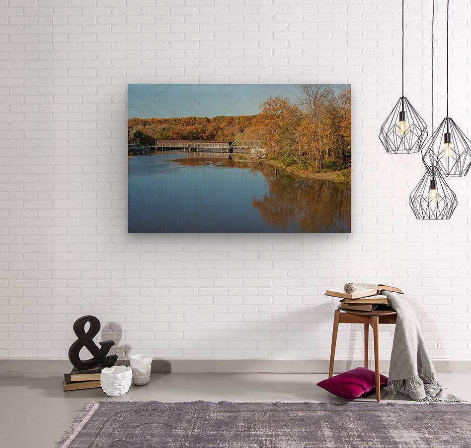 Grand River and Harpersfield covered bridge  Wood print