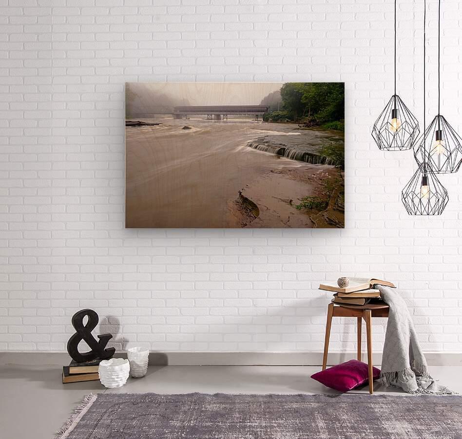 Grand River rapids at Harpersfield Covered Bridge Ohio  Wood print