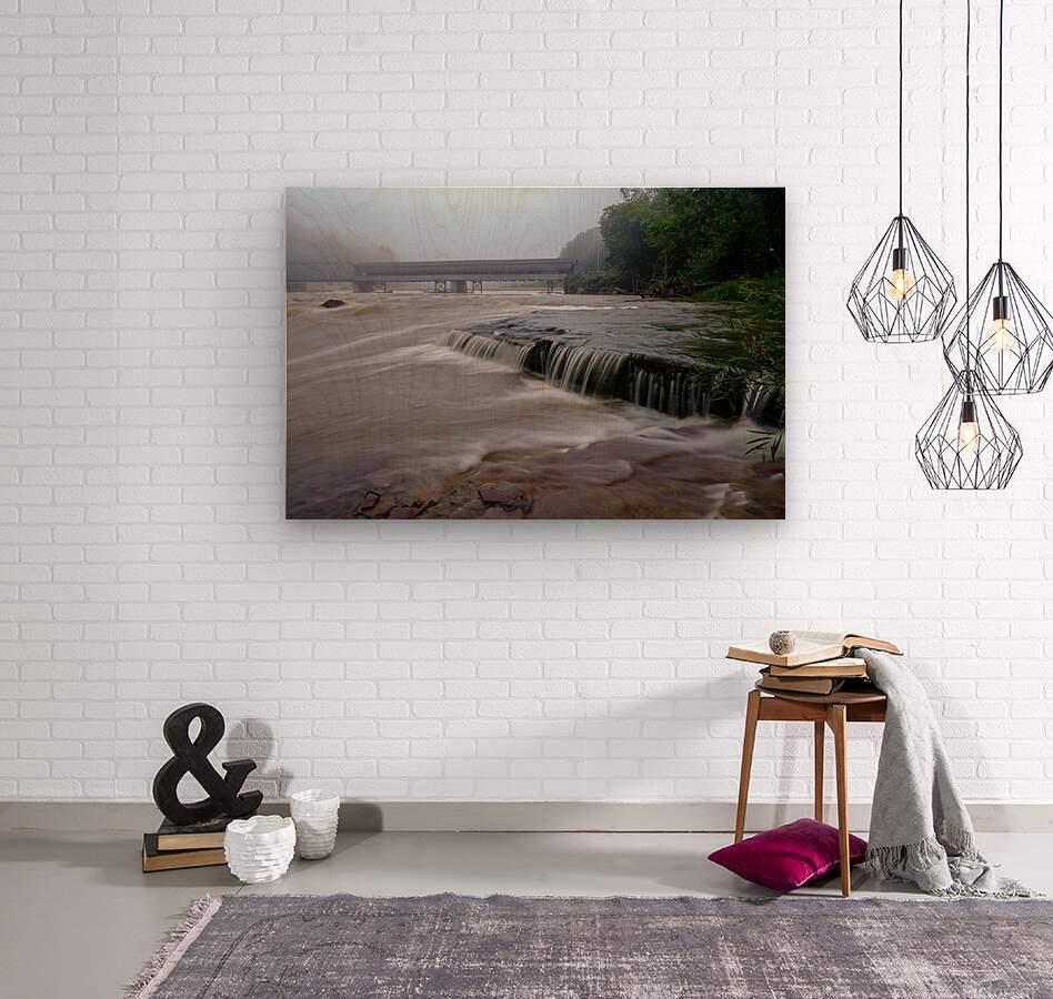 Harpersfield covered bridge and grand river rapids  Wood print