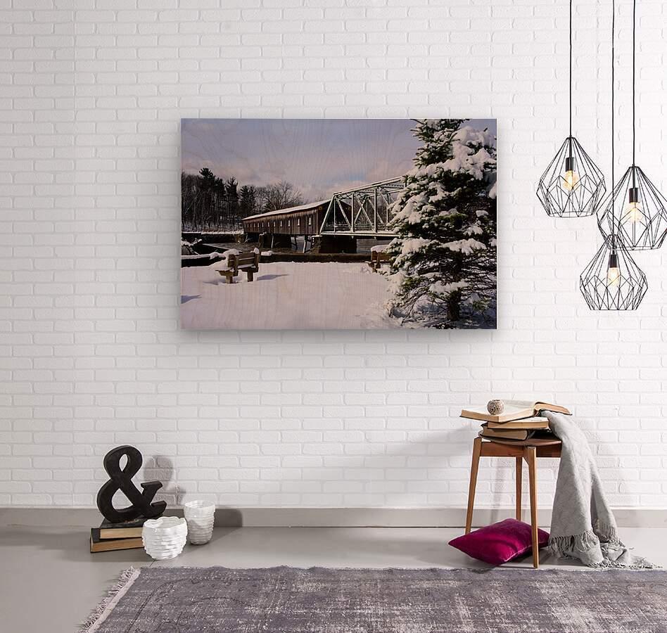 Harpersfield Ohio covered bridge winter and snow  Wood print