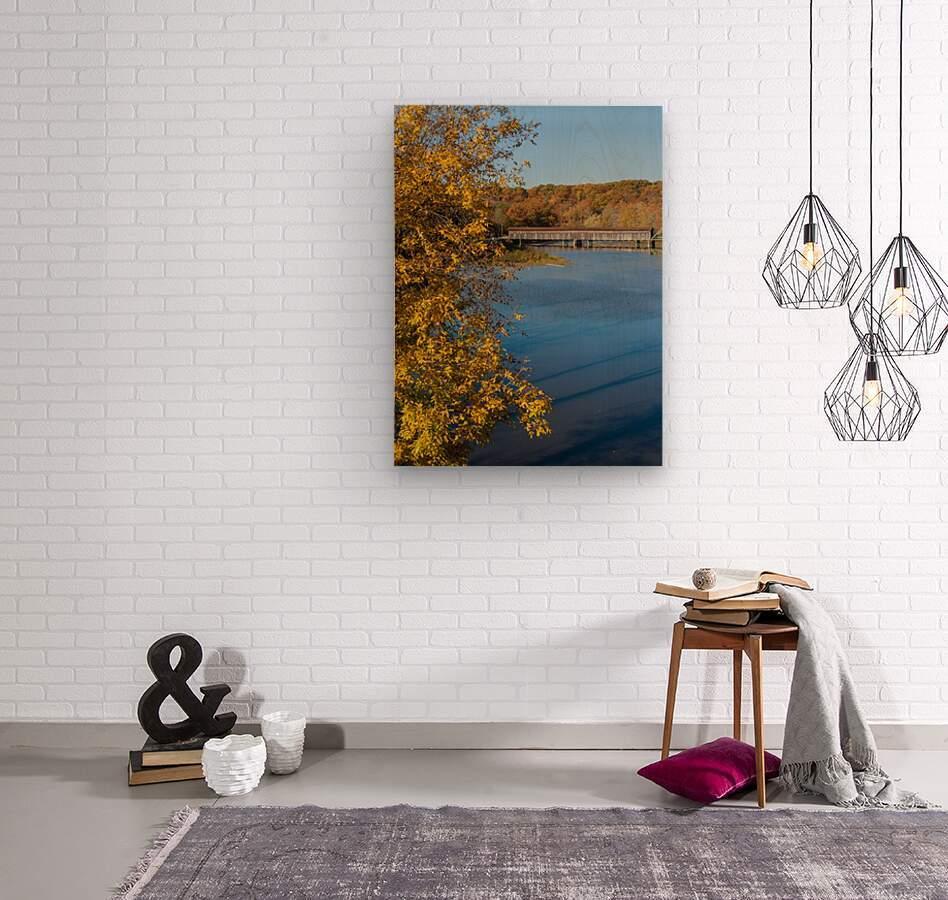 Harpersfield Ohio covered bridge autumn 2020  Wood print
