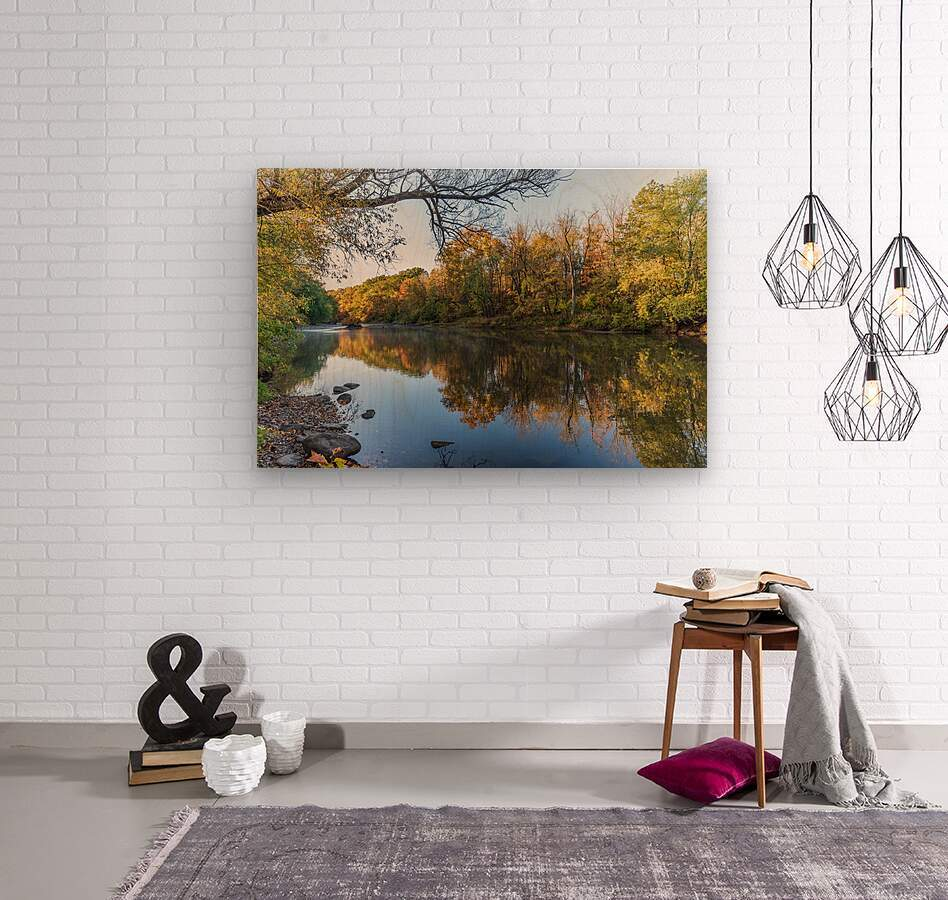Autumn morning on the Grand River at Mechanicsville Ohio  Wood print