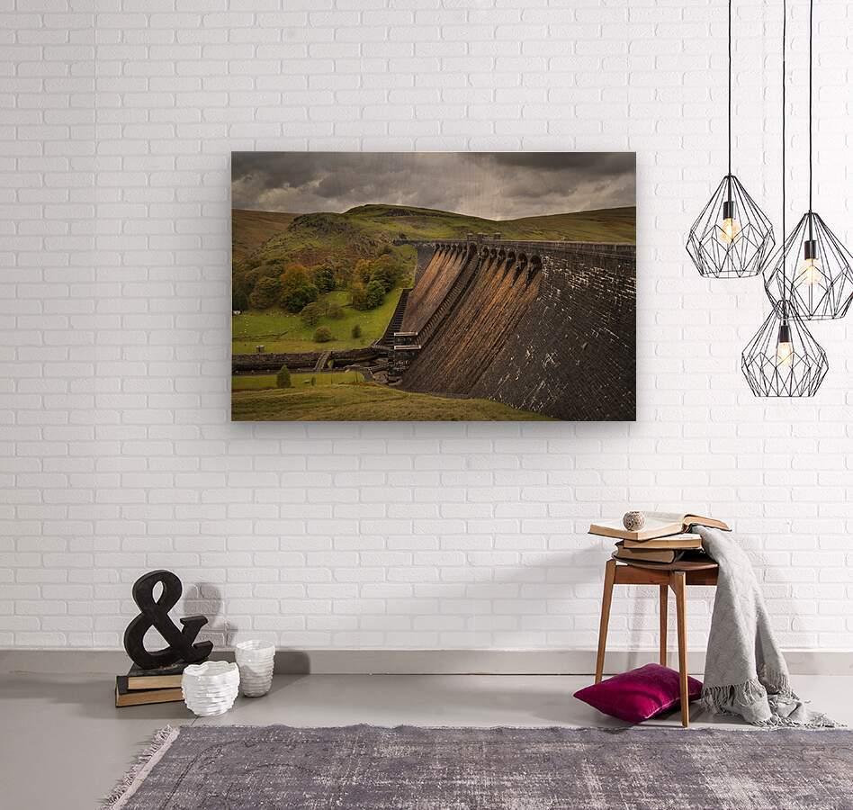 The Claerwen reservoir dam in Powys  Wood print