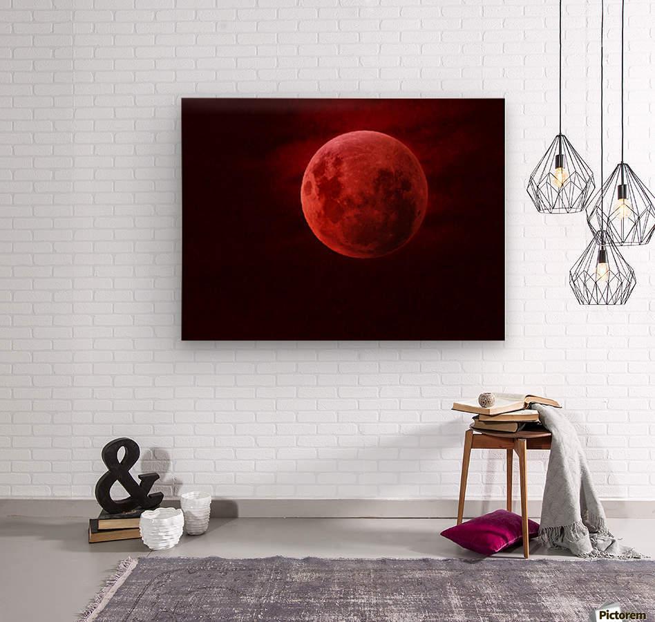 One Red Moon  Wood print