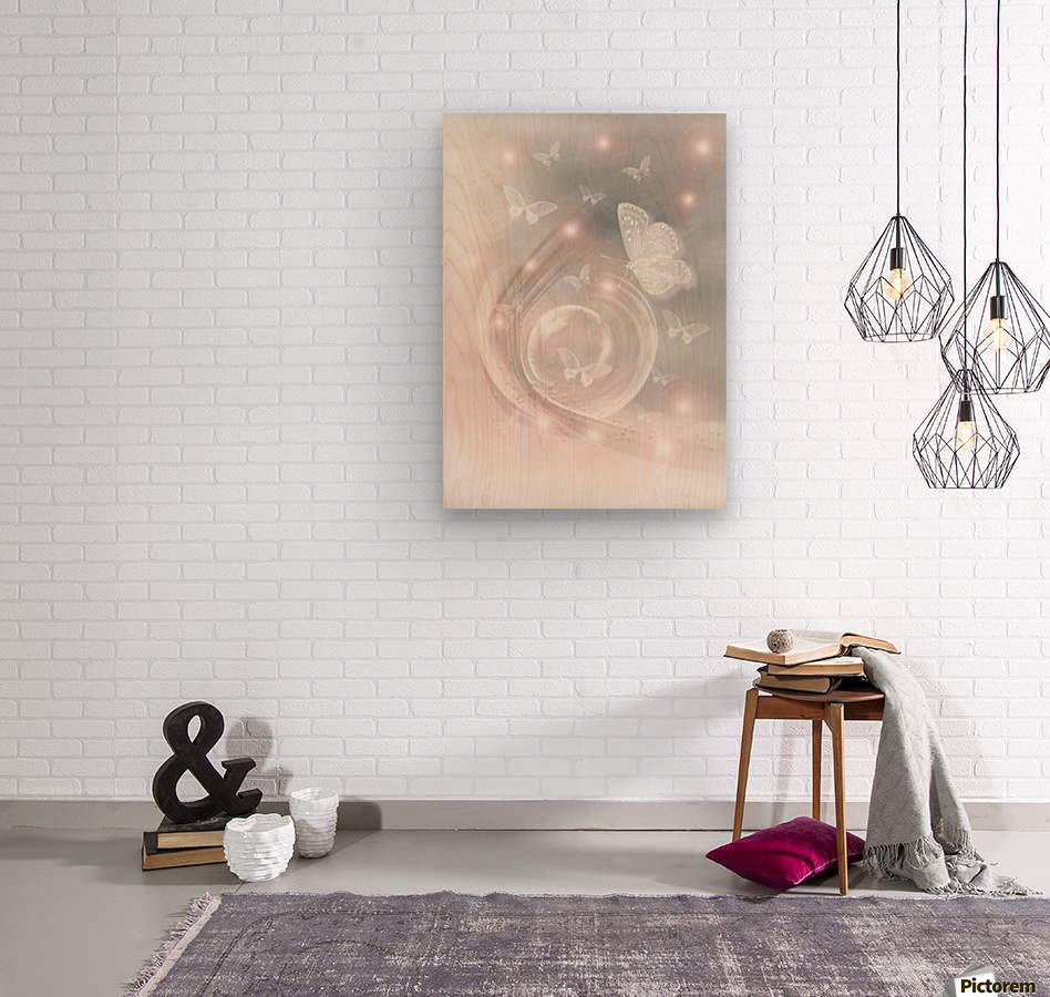 magical dream world of butterflies  Wood print