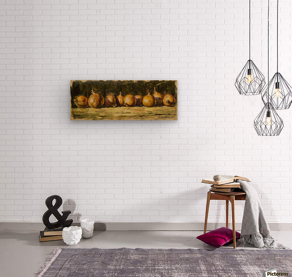 Kitchen Still Life with golden bow  Wood print