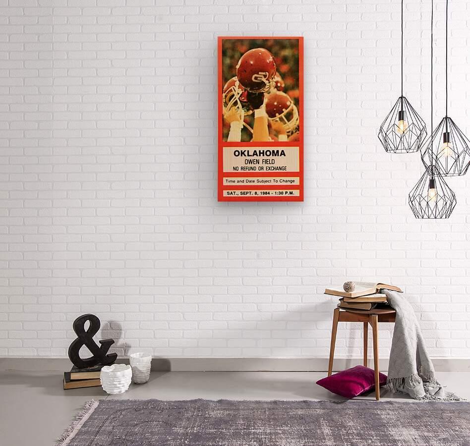 1984 Oklahoma Sooners Football Ticket Wall Art  Wood print