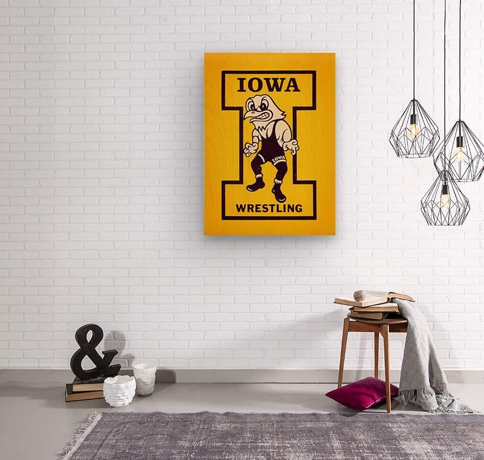 Vintage Iowa Wrestling Art  Wood print