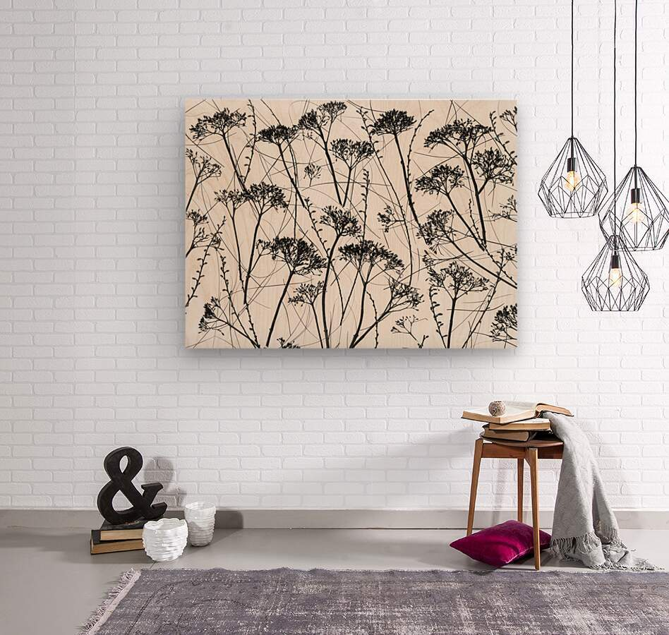 Silhouette of dried plants  Wood print
