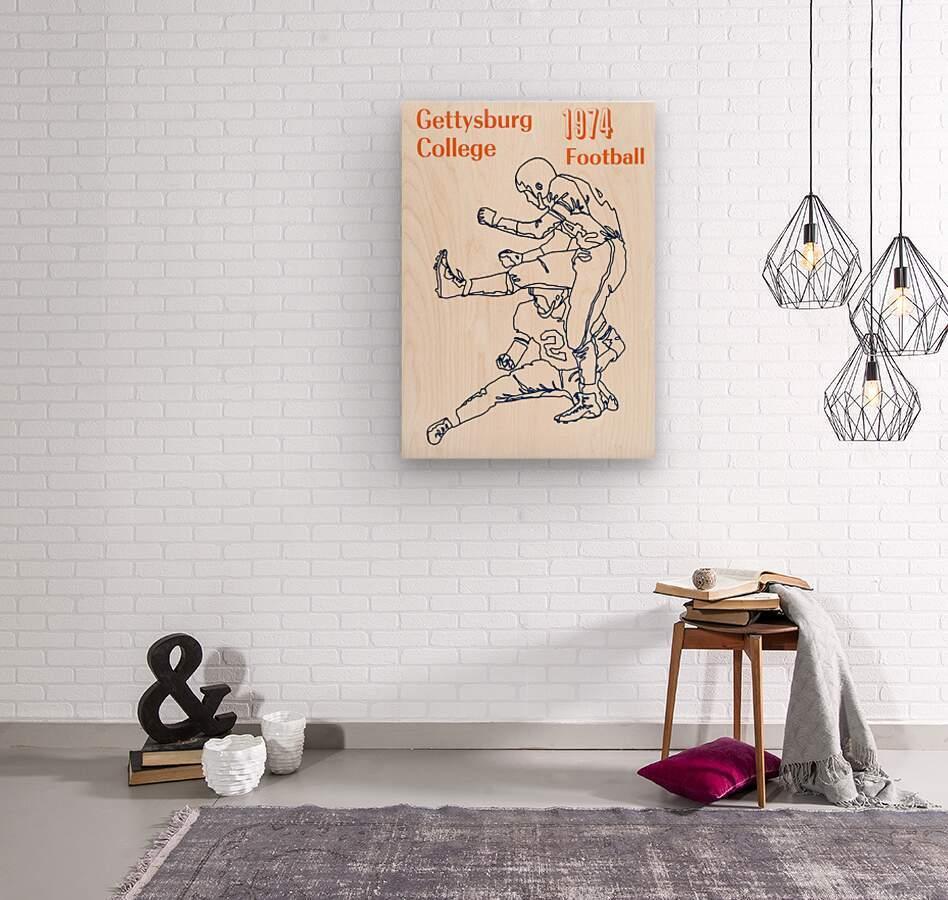 1974 Gettysburg College Football Art  Wood print