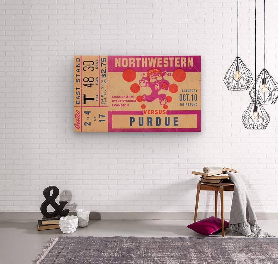 1942 Northwestern vs. Purdue  Wood print