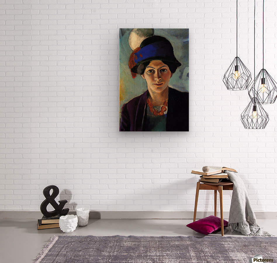 Portrait of the wife of the artist with a hat by Macke  Impression sur bois