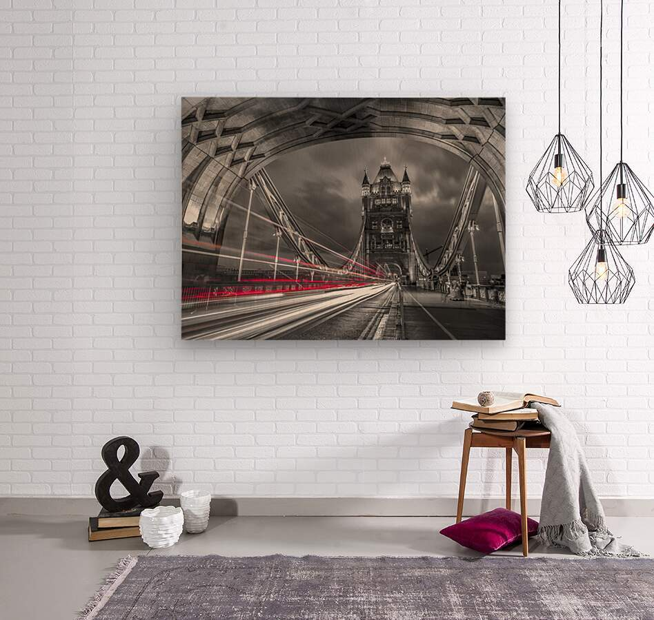 Tower bridge with strip lights, London, UK  Wood print