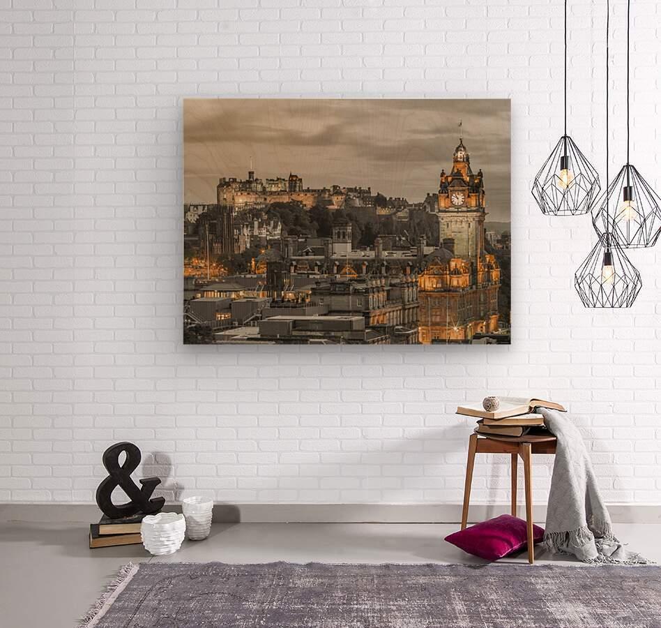 Edinburgh Castle and The Balmoral Hotel, Scotland  Wood print
