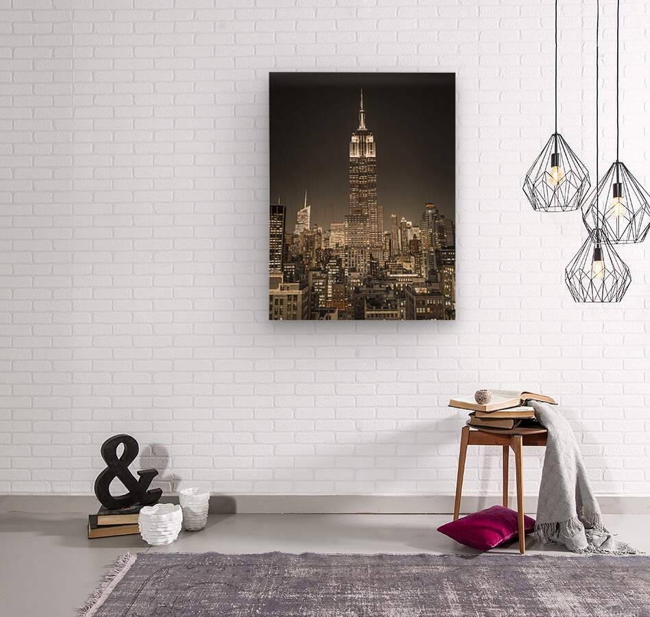 Empire State Building with New York City Manhattan skyline with skyscrapers  Wood print