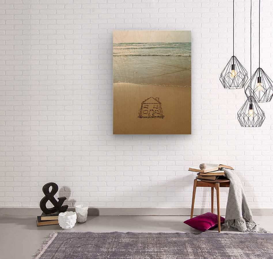 Sweet home drawn on sand at the beach  Wood print