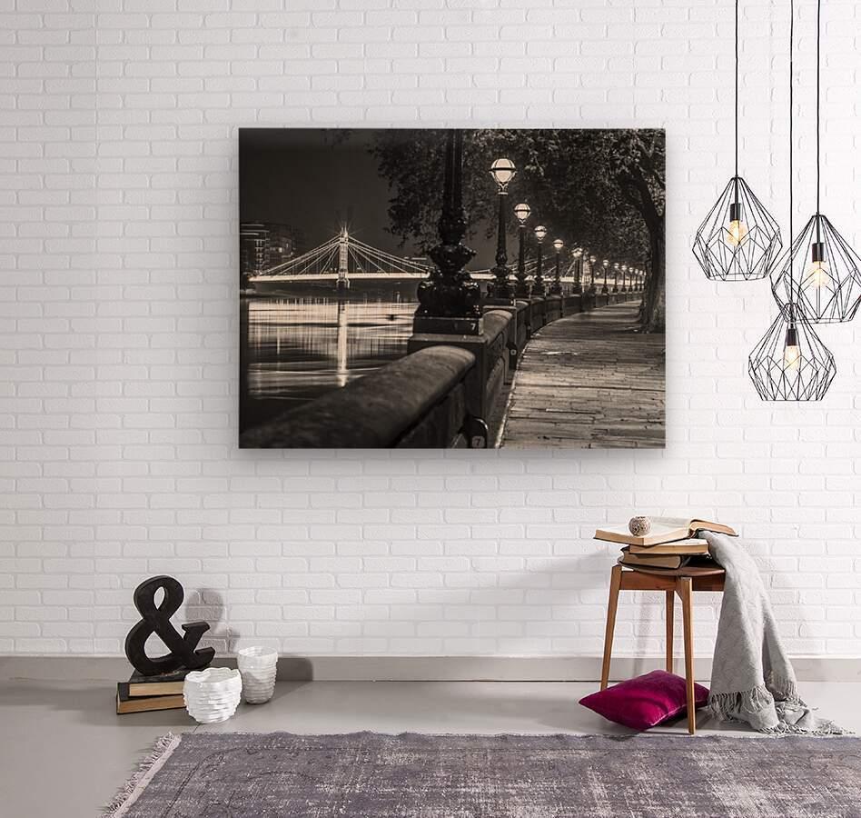 London Riverside Promenade with Albert Bridge  Wood print