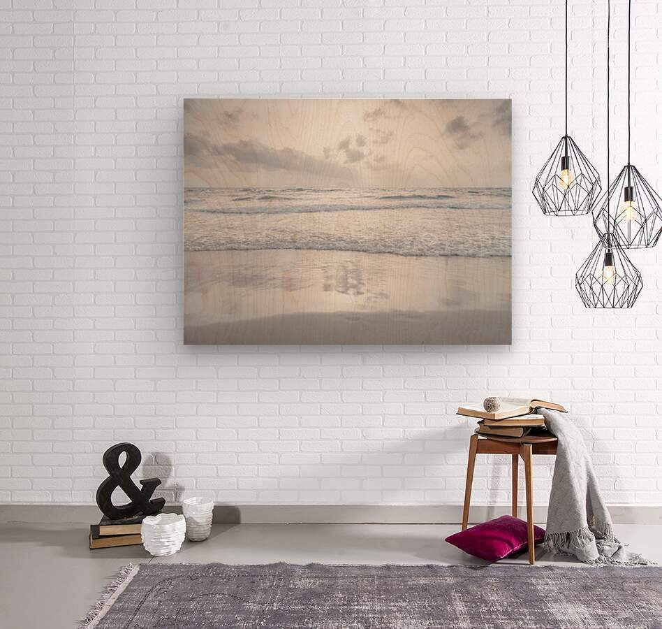 Tranquil beach with cloudscapes  Wood print