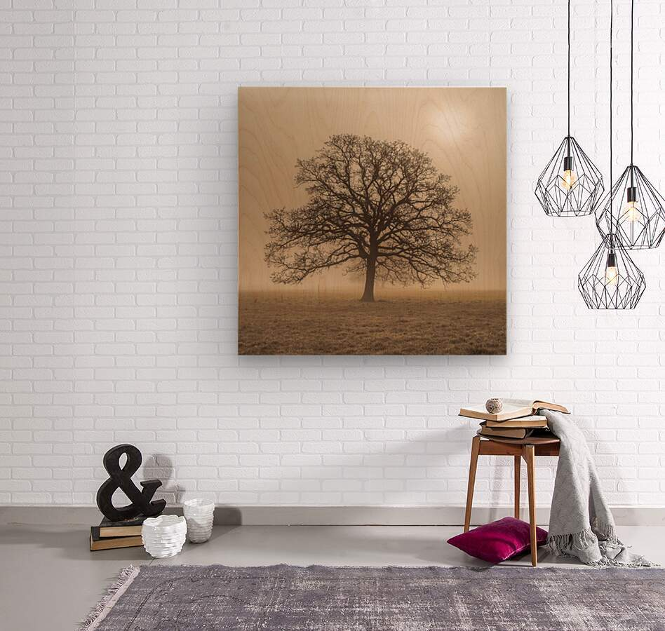 Trees in grass fields  Wood print