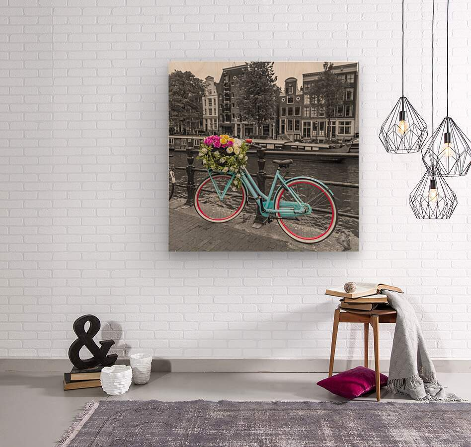 Bicycle with bunch of roses on bridge, Amsterdam  Wood print