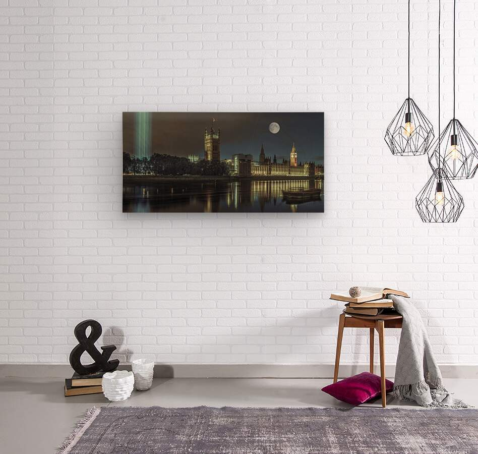 Column of spectra lights with Westminster Abby, London, UK  Impression sur bois