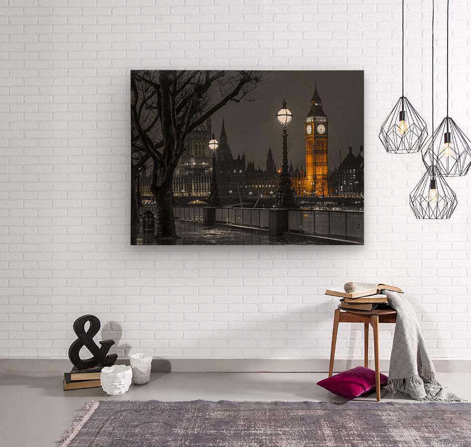 London cityscape in evening from Thames promenade  Wood print