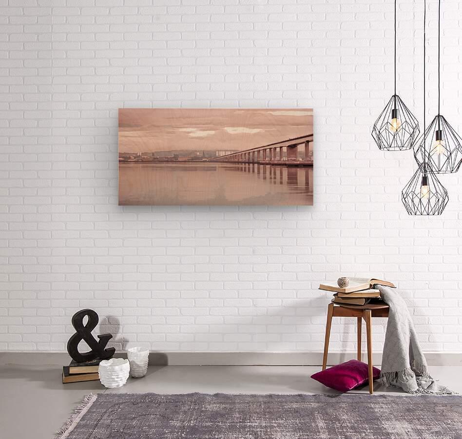 Tay Road Bridge over river Tay, Dundee, Scotland  Wood print