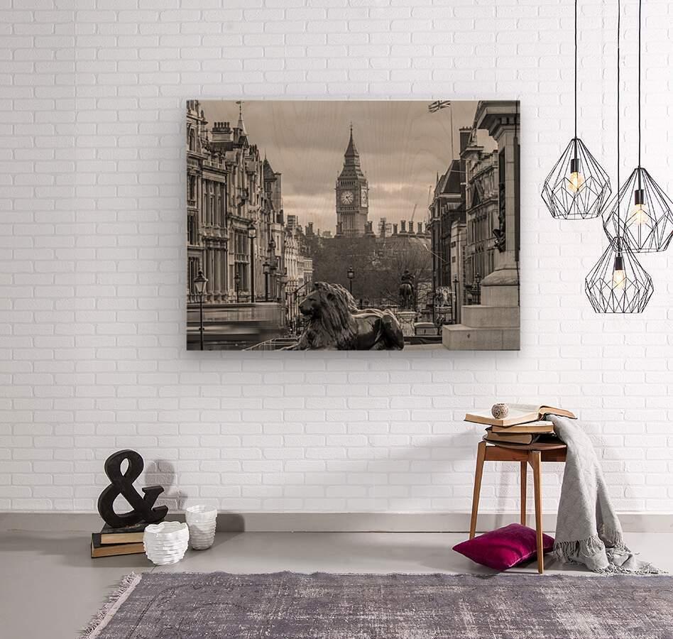 Trafalgar Square with Big Ben in background  Wood print